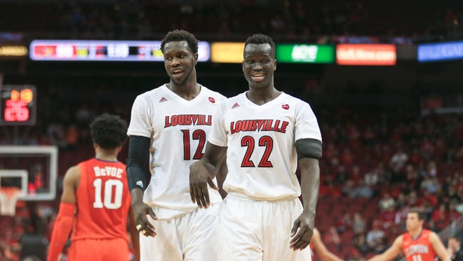 Louisville's Mangok Mathiang, left, and Deng Adel combined for 30 points and 14 rebounds in the Cards' 92-60 win over Clemson Jan. 19.