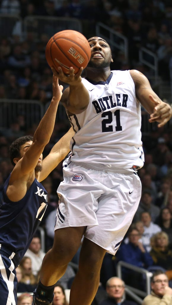 Butler's Roosevelt Jones shoots against Xavier in the first half of a game at Hinkle Fieldhouse Saturday January 10, 2015.