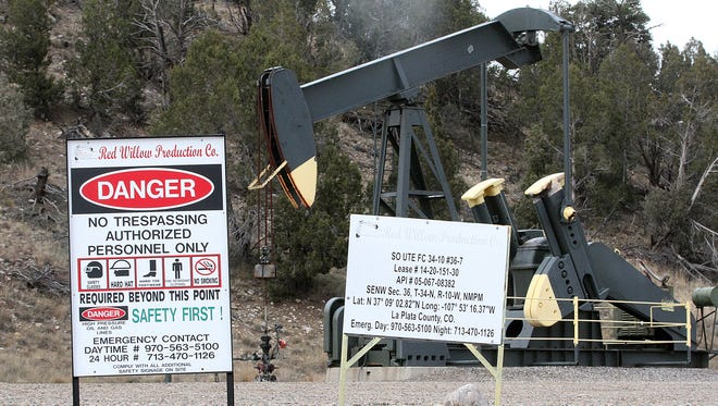 A pumpjack on Southern Ute land, as seen Nov. 16 off County Road 213, south of Durango, Colo.