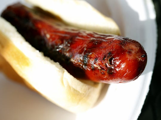 The all-beef hot dog from McCann's Local Meats looked appealing but had a chewy texture.