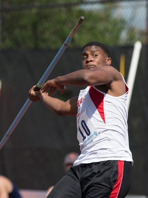 Morris Hills senior Dajon Chappell competes in the Penn Relays Championship of America javelin.