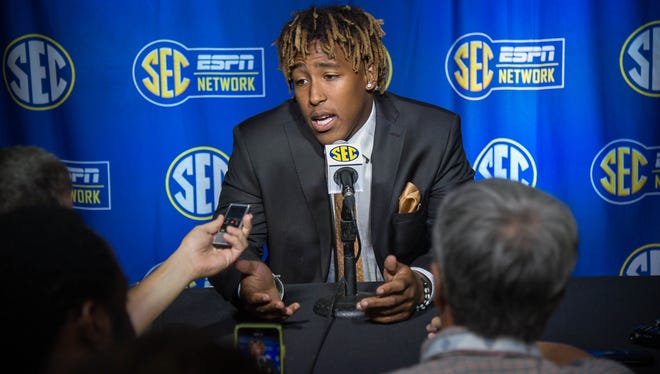 Jul 16, 2018; Atlanta, GA, USA; Kentucky Wildcats running back Benny Snell answering questions during SEC football media day at the College Football Hall of Fame.