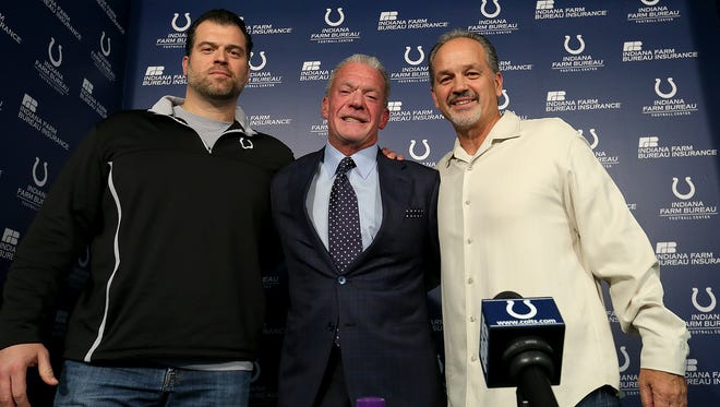 The Indianapolis Colts announce that head coach Chuck Pagano will return as he signs a contract extension with the team. Here Indianapolis Colts owner Jim Irsay,middle, his head coach Chuck Pagano,right, and Colts GM Ryan Grigson,left, pose for a group photo following their press conference.