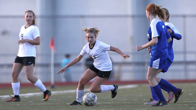 U-Prep girls soccer player Sami Isheim looks for an opening Wednesday during the Panther's 10-1 win over Durham in the first round of the Division III playoffs.