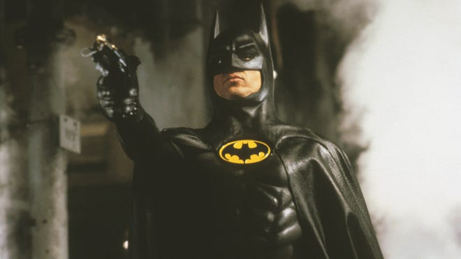 """Michael Keaton (seen here in Tim Burton's 1989 """"Batman"""" film) was one of six actors so far to play the Caped Crusader on the big screen."""