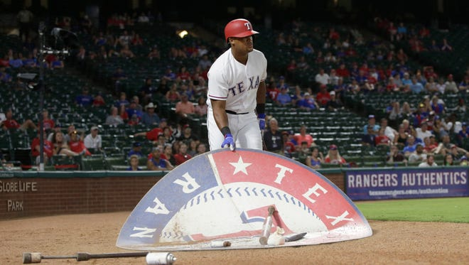Adrian Beltre is ejected after moving the on deck circle in the eighth inning.