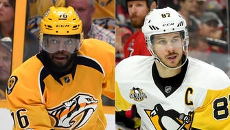 Predators defenseman P.K. Subban (left) and Penguins center Sidney Crosby (right) will see a lot of each other in the Stanley Cup Final.