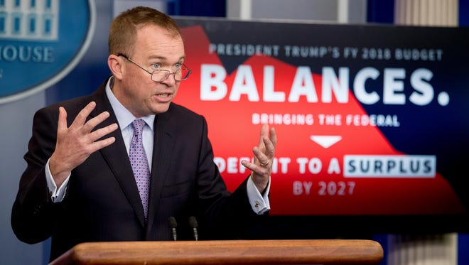 Budget Director Mick Mulvaney speaks to the media about Trump's proposed FY 2018 budget at a press briefing at the White House on May 23, 2017.