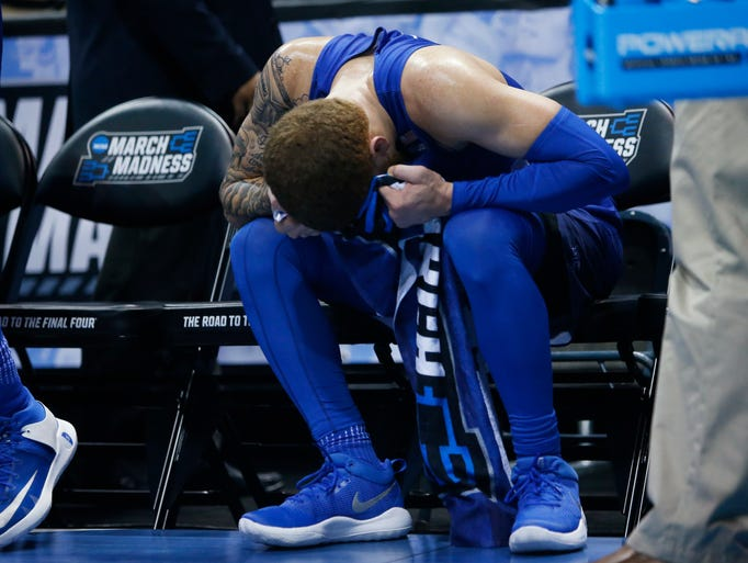 Middle Tennessee State's Tyrik Dixon reacts on the