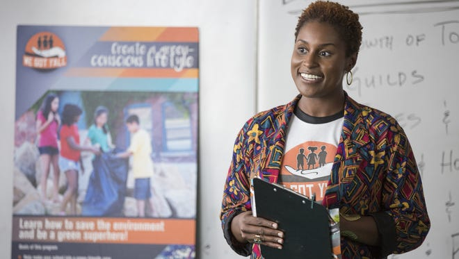 """This image released by HBO shows Issa Rae in a scene from """"Insecure."""" Rae was nominated for a Golden Globe award for best actress in a TV series musical or comedy on Dec. 12, 2016."""