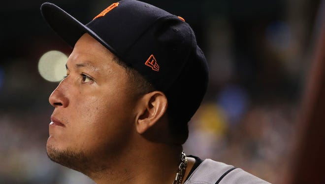 Miguel Cabrera #24 of the Detroit Tigers stands in the dugout during the seventh inning of the MLB game against the Arizona Diamondbacks at Chase Field on May 9, 2017 in Phoenix, Arizona.  On Aug. 7, in Orlando's Orange  County Circuit Court, Cabrera's ex-mistress of five years, Belkis Mariela Rodriguez, hit him with a paternity suit, claiming he isn't paying enough child support for the two children he fathered with her; a son and a daughter.