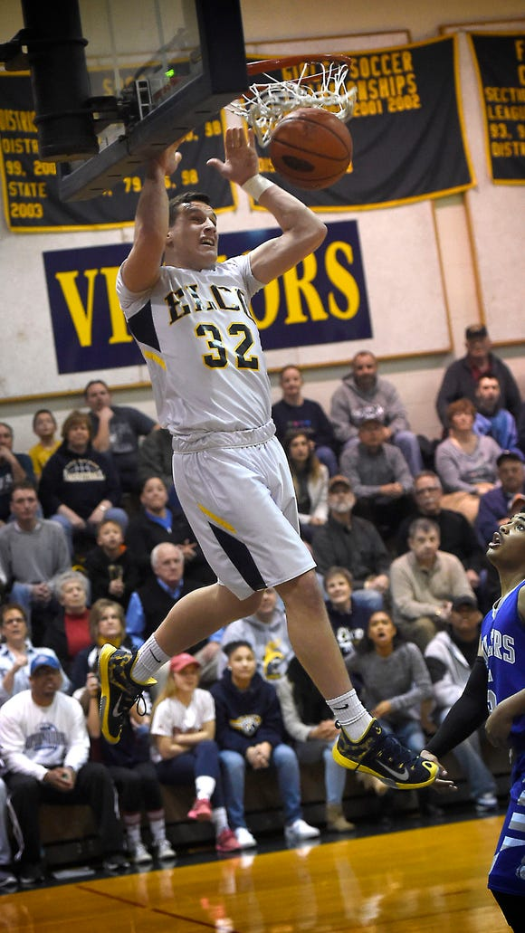 Raider Colton Lawrence goes in for his first dunk of the game. Elco defeated Steel-High 80-58 at home Tuesday night, Feb, 16.