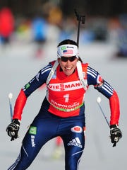 Former St. Johnsbury standout Susan Dunklee is seen in competing at the 2012 Biathlon World Championships.