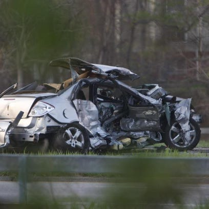 From the scene of crash on Route 104 Tuesday.