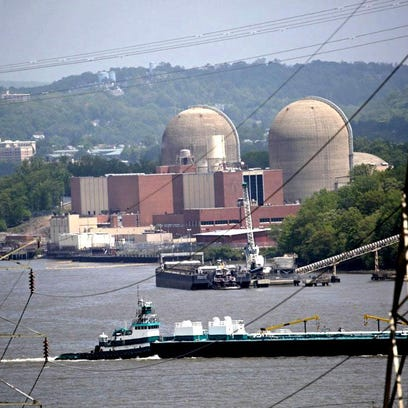 A tanker goes past Indian Point on May 11, two days