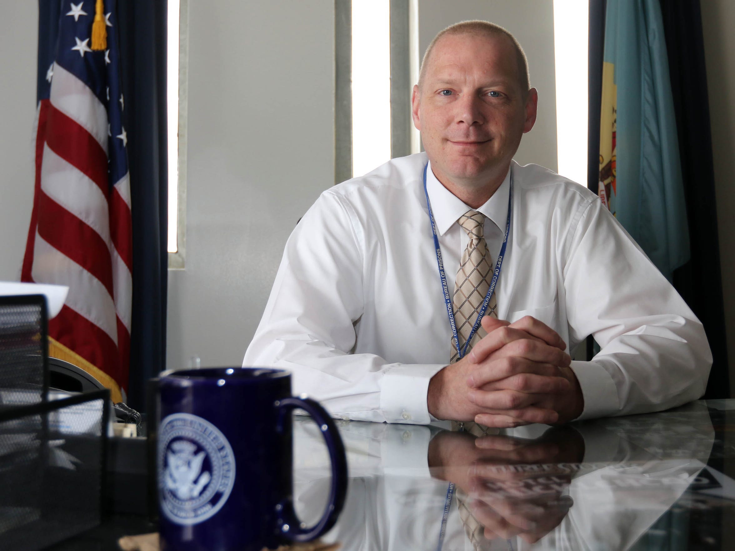 David Pierce, warden for James T. Vaughn Correctional Center, in shown in his office.