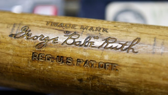 Babe Ruth's name is carved into a baseball bat he used probably between 1928 and 2931 and that is now owned by Jeff Jackson, as seen in his store JJ's Cards and Antiques Thursday, March 30, 2017, in Red Lion. Jackson said he would like to have the best Babe Ruth collection possible, but knows it's a tall order with stiff competition.