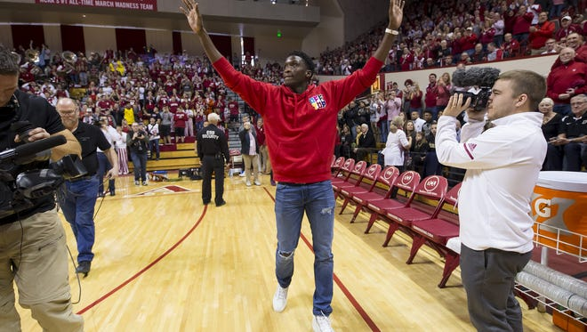 Former Indiana Hoosiers player and Indiana Pacer Victor Oladipo walks onto the court before the game against the Purdue Boilermakers at Simon Skjodt Assembly Hall in Bloomington, Ind., on Wednesday, Jan. 28, 2018.