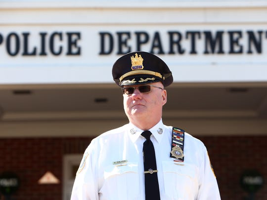 Retiring Parsippany Police Chief Paul Philipps speaks during his walkout ceremony at Parsippany Police Headquarters February 28, 2018. Parsippany, NJ.