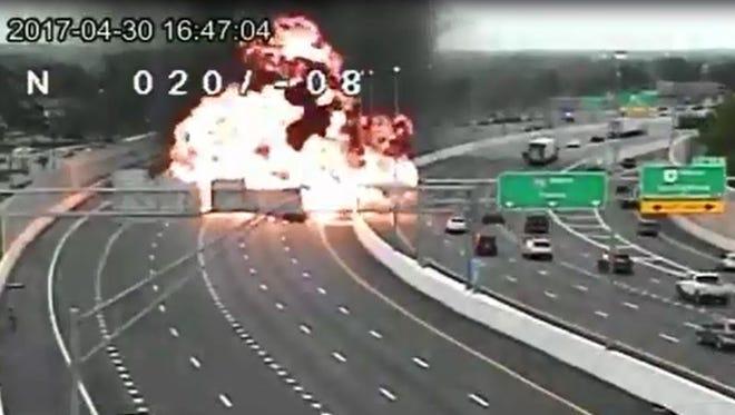 A fatal crash on I-75 in Dayton on Sunday sparked a fireball.