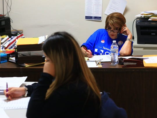 Nueces County Democrats were still making calls to prospective voters with an hour to go before polls closed on Tuesday, Nov. 8, 2016.