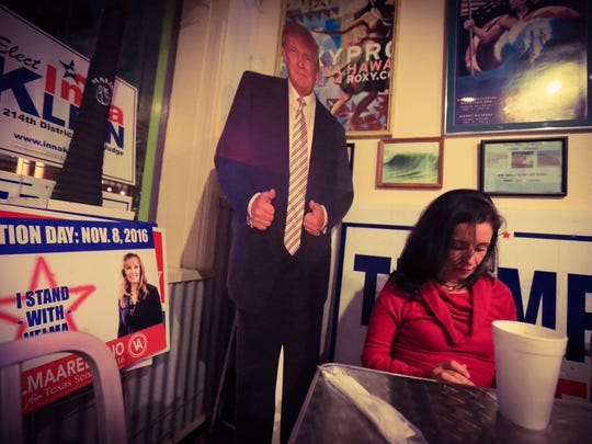 Claudia Guerra, visiting from Italy, attends a Republican candidate Watch party at the Executive Surf Club on Tuesday, Nov. 8, 2016.