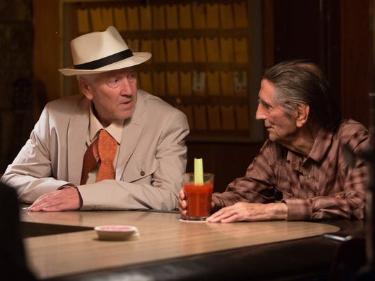 "David Lynch, left, and Harry Dean Stanton in ""Lucky,"" which is the late Stanton's final film appearance."