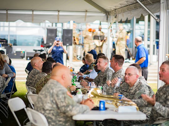 Members of the 129th Army Band take a break from performing during the Veterans' Picnic Nov. 4 on the lawn outside the Kennon Hall of Fame. It was part of MTSU's 36th Salute to Veterans and Armed Services activities.
