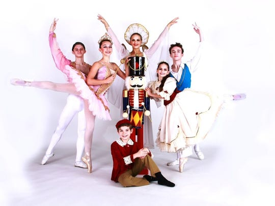 Starring in 'The Nutcracker' (from left) are Trey Luciano of Vineland as the Prince; Nicole Cullis of Vineland as Sugar Plum Fairy; Angelina Bartolozzi of Vineland as Angel of Dreams; Addison Mancill of Vineland as Clara; Adam Anthony of Vineland as Cavalier, and (sitting) Maximus Safon of Vineland as Fritz.