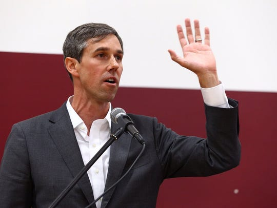 U.S. Rep. Beto O'Rourke, D-El Paso, addresses African-American community leaders March 28 in Houston during a campaign stop. O'Rourke is challenging Republican U.S. Sen. Ted Cruz.