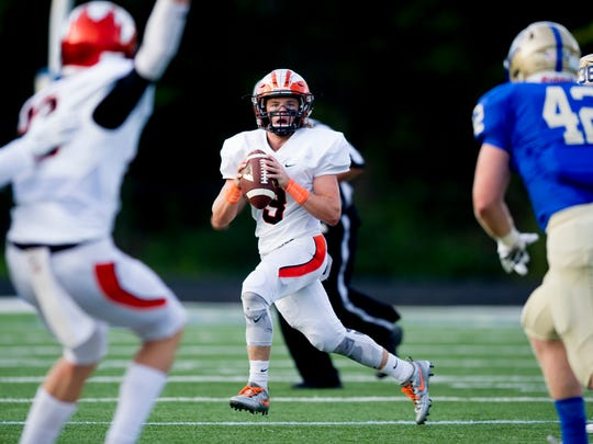 Greenback's Bryce Hanley (3) looks to pass during a game against Christian Academy Knoxville on Friday, Aug. 25, 2017.