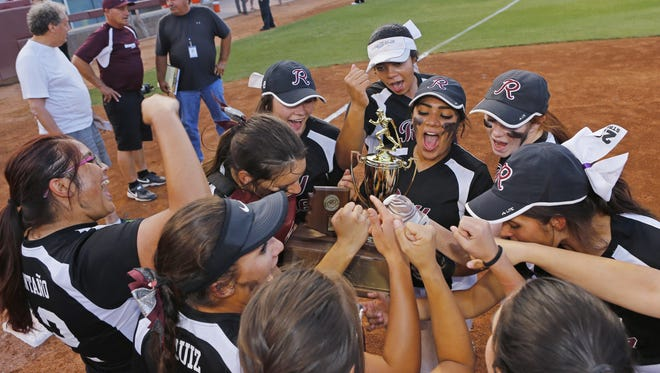 The Ray Bearcats celebrate their 1-0 win over  Superior during their Conference 1A softball championship Monday, May 8, 2017 in Tempe, Ariz.