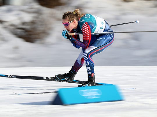 Feb 15, 2018; Pyeongchang, South Korea; Team USA's Jessica Diggins tucks as he sails down a hill during the Pyeongchang 2018 Olympic Winter Games at Alpensia Cross-Country Centre. Mandatory Credit: Matt Kryger-USA TODAY Sports