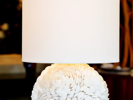 Mosaic seashell sphere table lamp, $349 at Luxe Home Interiors.