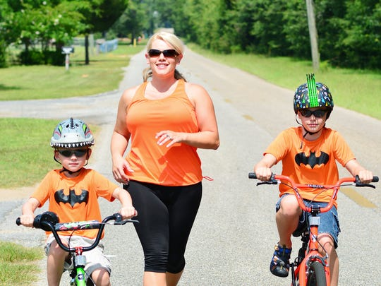 Getting out and exercising with her kids is important to Ashley.