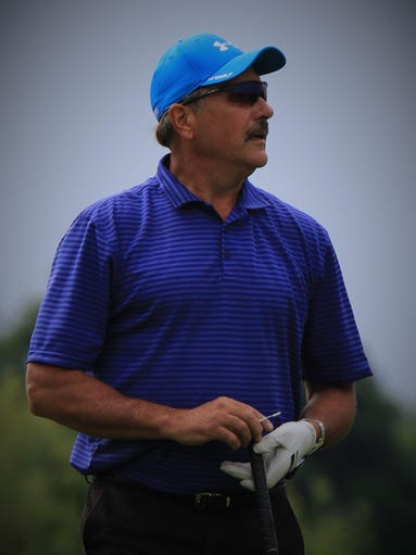 Mulling over his next shot is Canton's Steve Wieczorek.