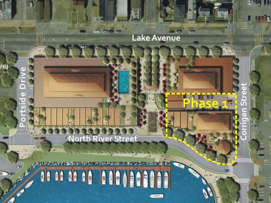 An overview of the Port of Rochester development site shows where Edgewater Resources plans to begin construction with the first building.