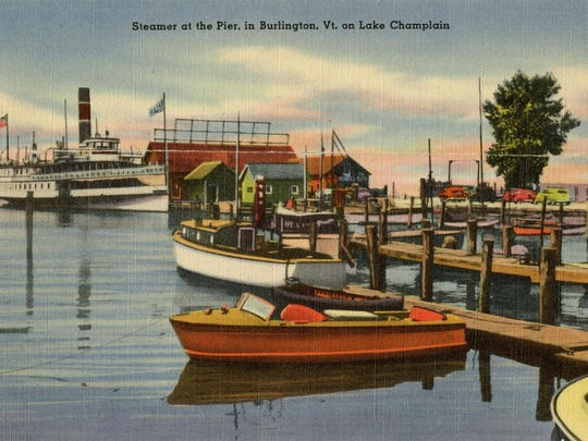 Old postcard shows motor boats and a steamer at Burlington Pier.