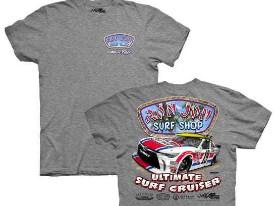 The T-shirts that will be on sale at Ron Jon Surf Shop.