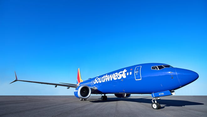 "Southwest shows off one of its new Boeing 737 ""Max"" jets."