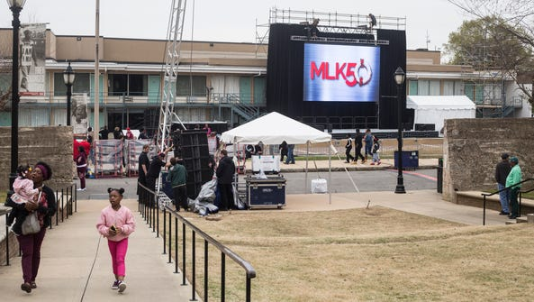 April 02, 2018 - A large screen is seen outside of