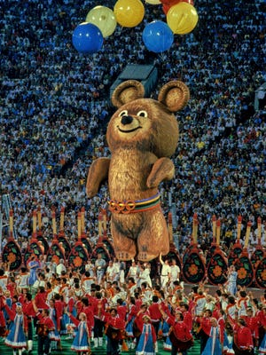 The Olympic mascot Misha during the closing ceremony of the 1980 Moscow Summer Olympics.