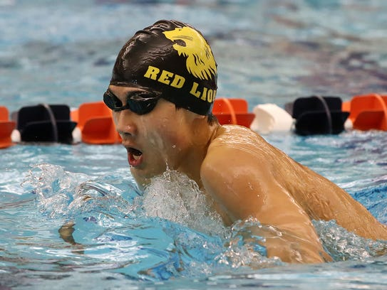 Red Lion's Alex Sun, swims the breaststroke leg of