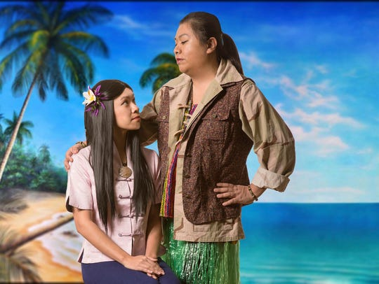 "Sisters Charity Munson (left) and Giselle Vincent play daughter (Liat) and mother (Bloody Mary) in ""South Pacific."""