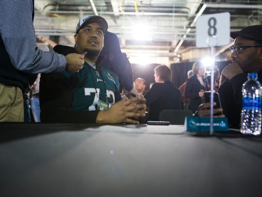 Philadelphia's Halapoulivaati Vaitai speaks to the media during a press conference Wednesday at the Mall of America.