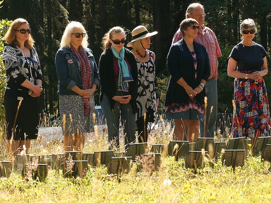 A small crowd attended the burial service for people