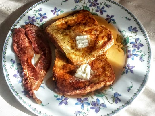 French toast with syrup.