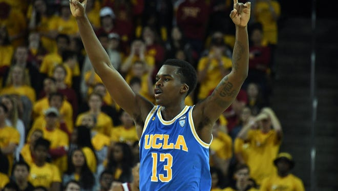 March 3, 2018; Los Angeles, CA, USA; UCLA Bruins guard Kris Wilkes (13) reacts against the Southern California Trojans during the second half at Galen Center.