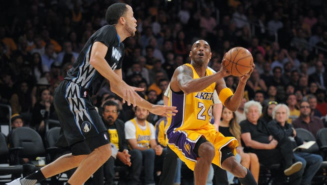 Los Angeles Lakers guard Kobe Bryant looks to shoot against the Minnesota Timberwolves.