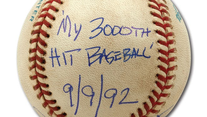 Robin Yount's autographed baseball from his 3,000th career hit.